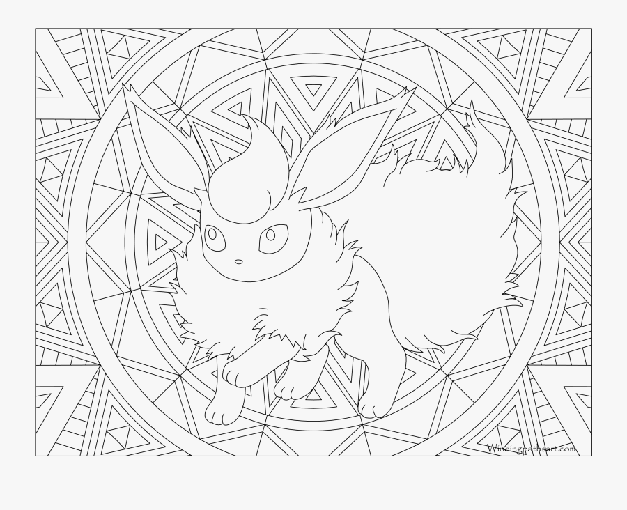 136 Flareon Pokemon Coloring Page - Adult Coloring Pages Pokemon, Transparent Clipart