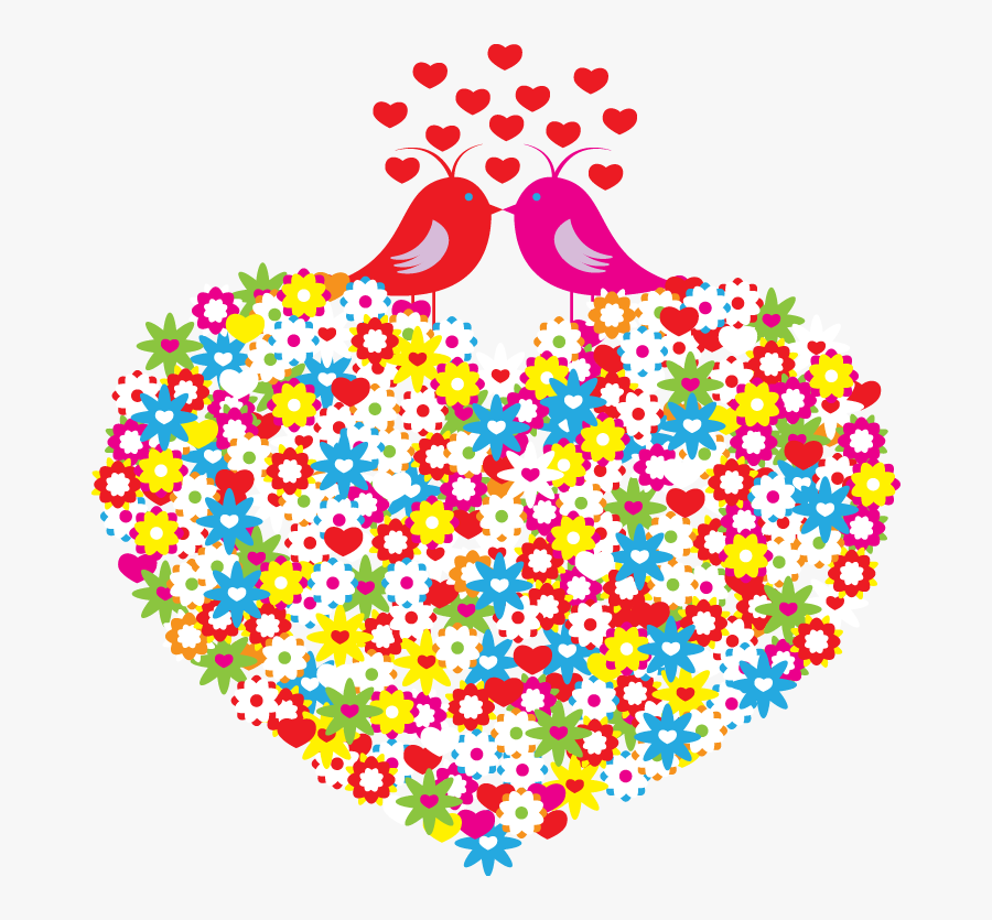 And Heart Shaped Pattern Flowers Birds Hand Painted - Valentines Love Birds, Transparent Clipart