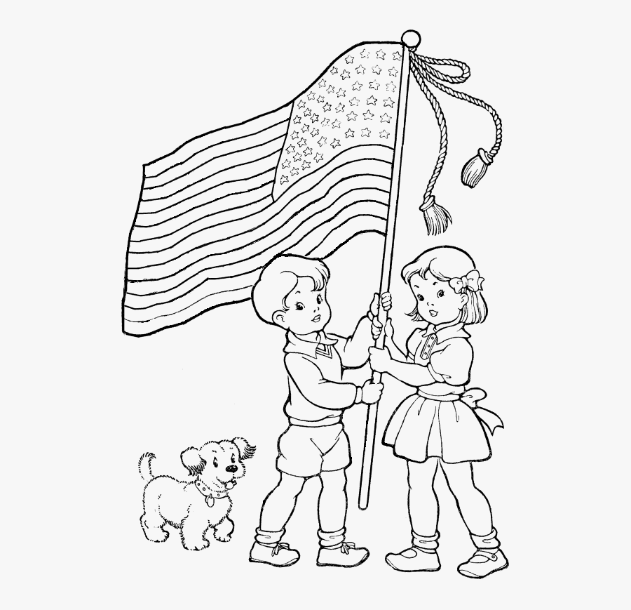 Sketch Flag Hoisting Coloring Pages Independence Day, Transparent Clipart