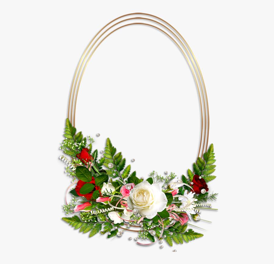 Death Photo Flower Frames Png - Oval Frame With Flower, Transparent Clipart