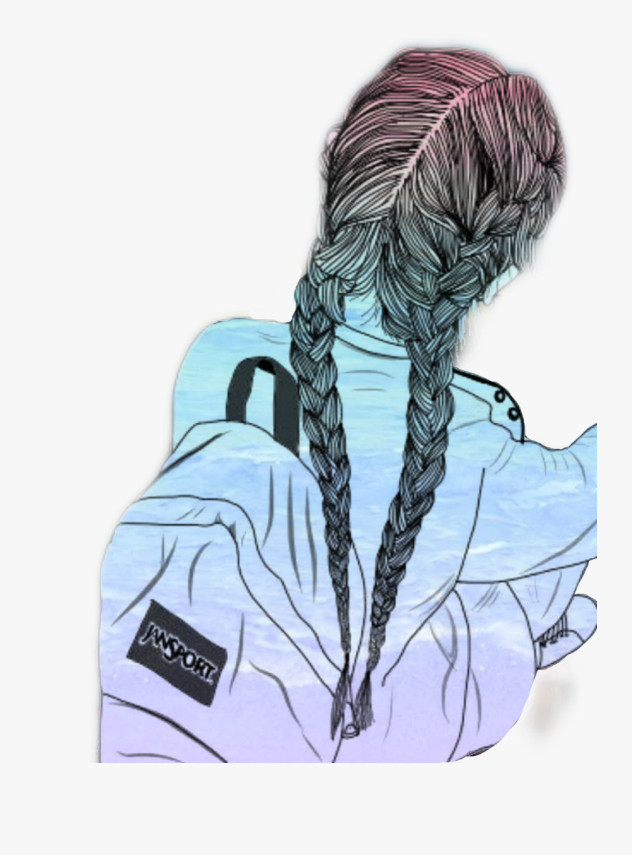 #sketch #outline #beach #girl #colorful #braids #summer - Girl Drawing With Braids, Transparent Clipart