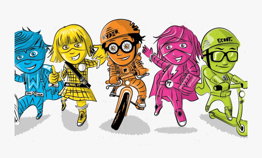 Active School Travel - Active School Travel Characters, Transparent Clipart