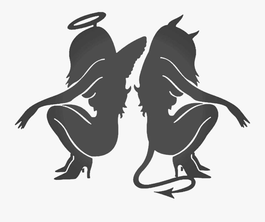Decal Sticker Angel Devil Demon - Demon And Angel Girl, Transparent Clipart