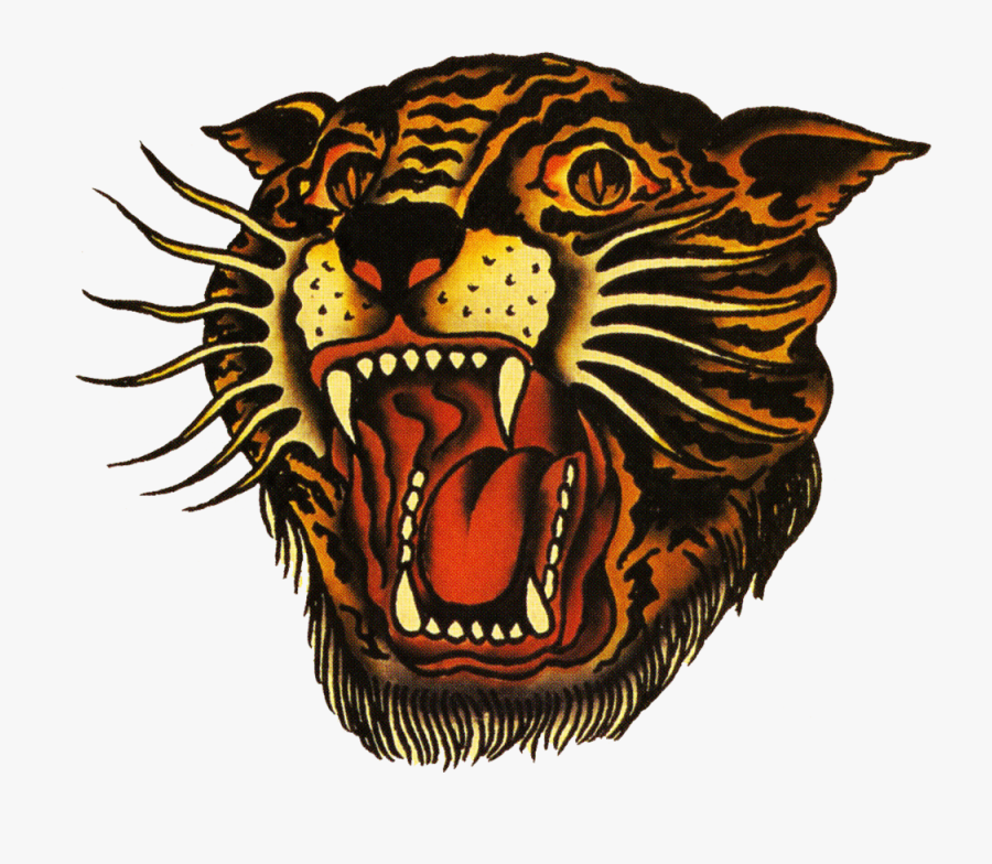 Sailor Jerry Vintage Designs - Chinese Tiger Head Tattoo, Transparent Clipart