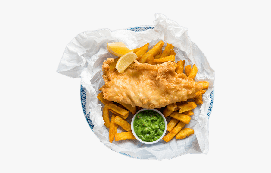 Fish And Chips With Slices Of Lemon And Pea Mash - Krispies Fish And Chips Exmouth, Transparent Clipart
