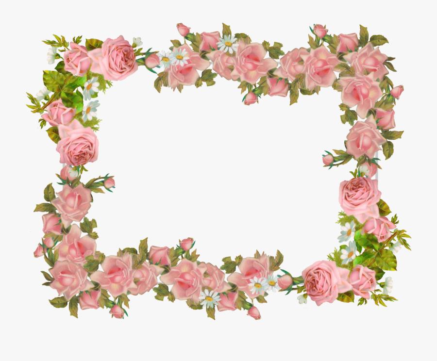 Free Digital Vintage Rose Frame And Scrapbooking Paper - Transparent Background Vintage Flower Border, Transparent Clipart