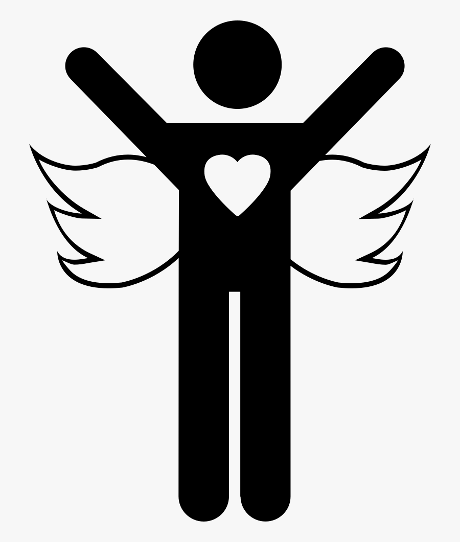 Angel With Open Arms - Heart With Devil Horns And Angel Wings Meaning, Transparent Clipart