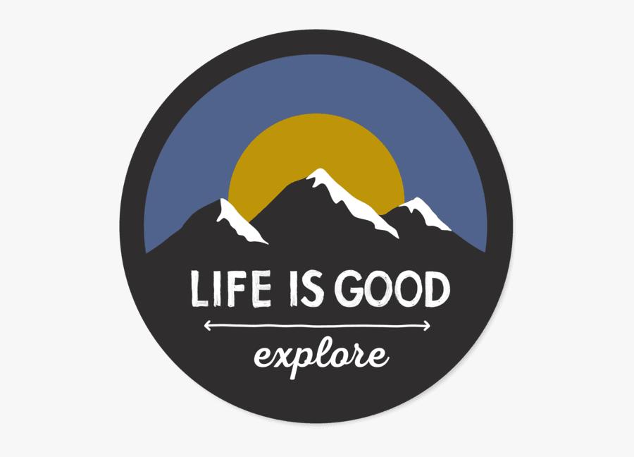 Explore Mountains Circle Sticker - Life Magazine, Transparent Clipart