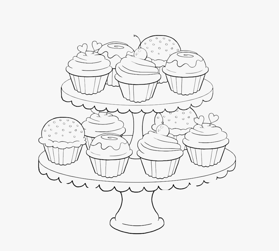 Transparent Pinkalicious Cupcake Clipart - Coloring Pages For Adults Food, Transparent Clipart