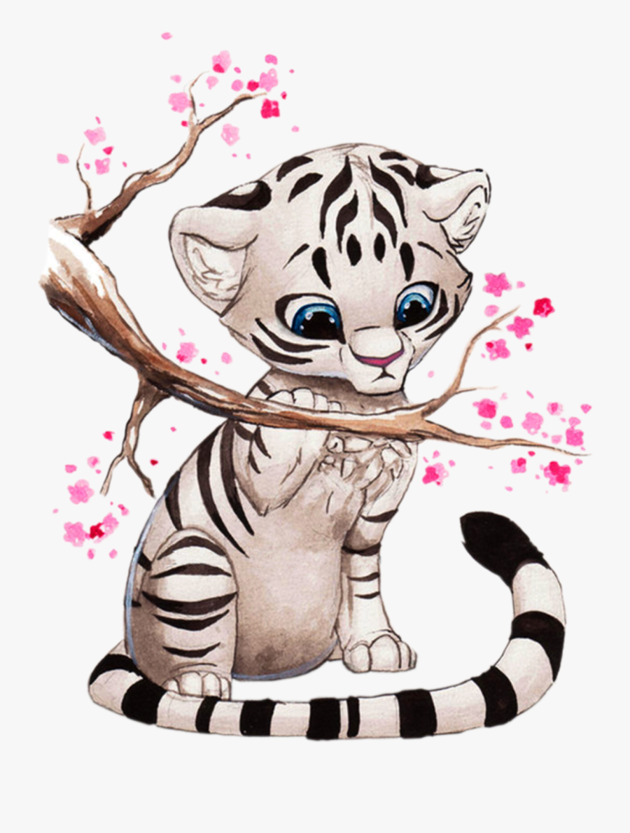 Manga Clipart Anime Animal - Cute White Tiger Drawings, Transparent Clipart