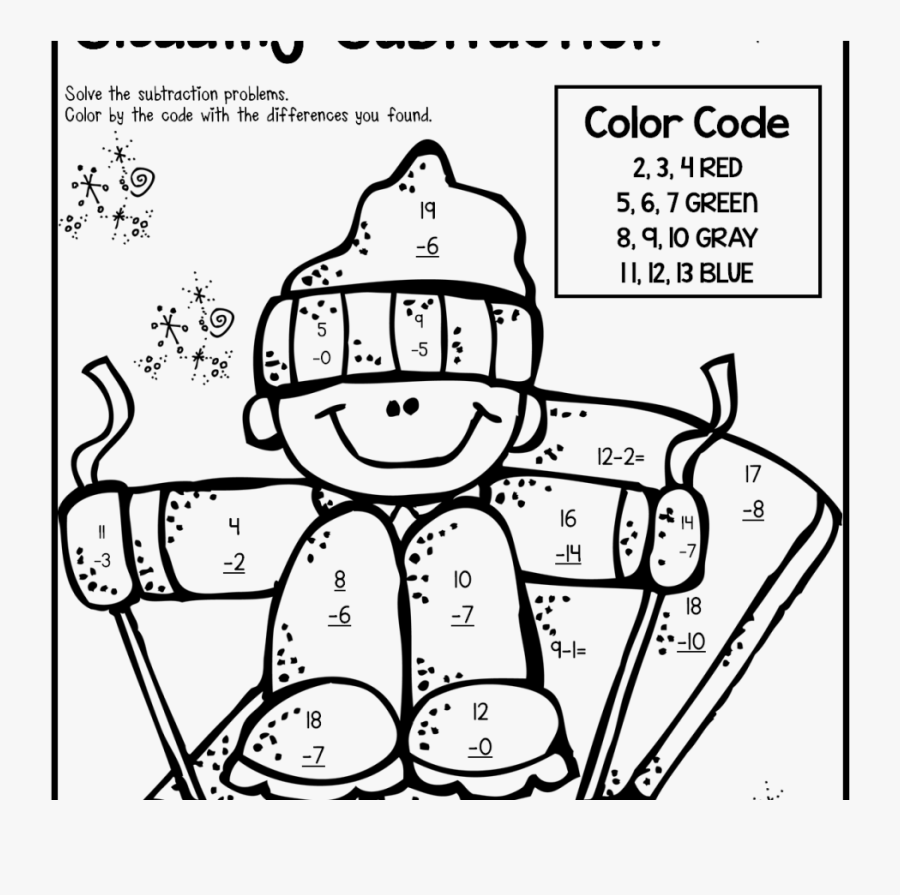 Coloring For Kids 2nd Grade Halloweenagesrintable Sight - 2nd Grade Subtraction Coloring Page, Transparent Clipart