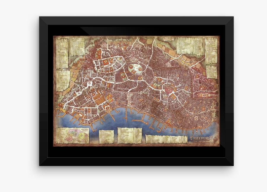 Transparent Paper Map Png - Freeport City Of Adventure Map, Transparent Clipart