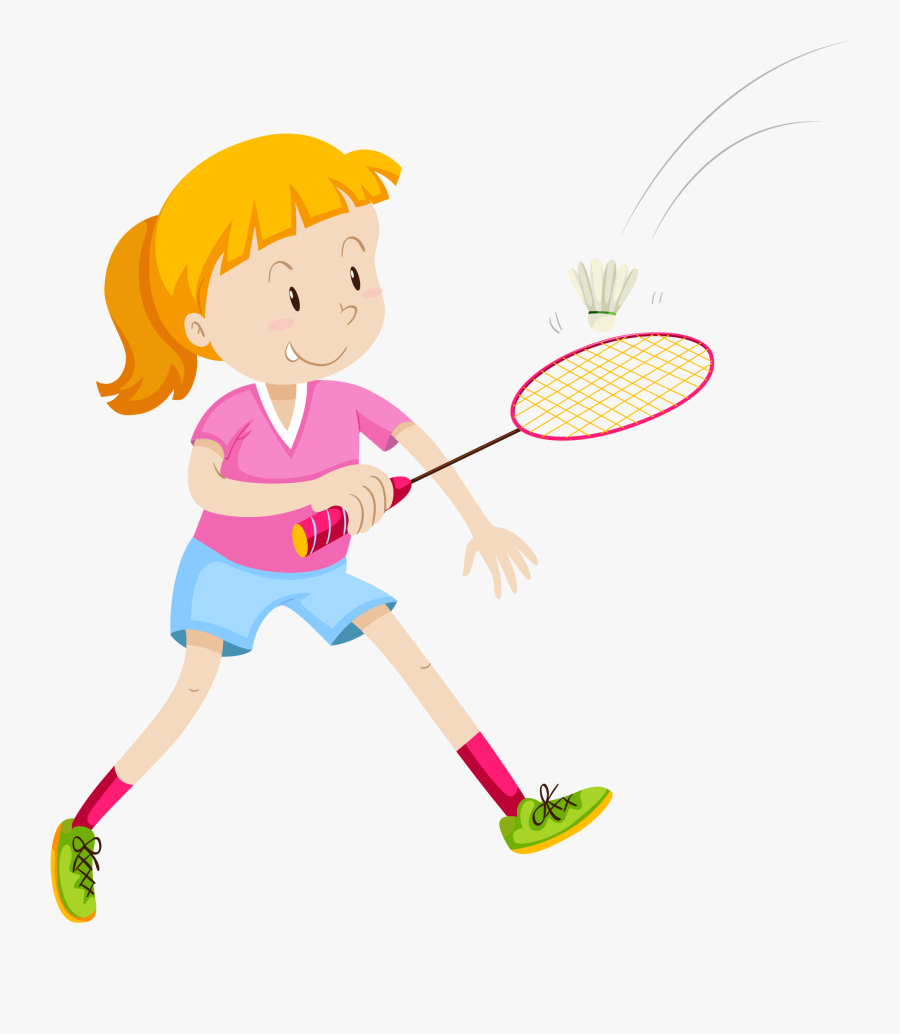 Badmintonracket Girl Illustration Playing - Kids Playing Badminton Cartoon, Transparent Clipart