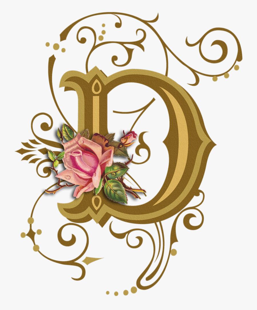 Flower Clipart Alphabet D - Design Fancy Letter D, Transparent Clipart
