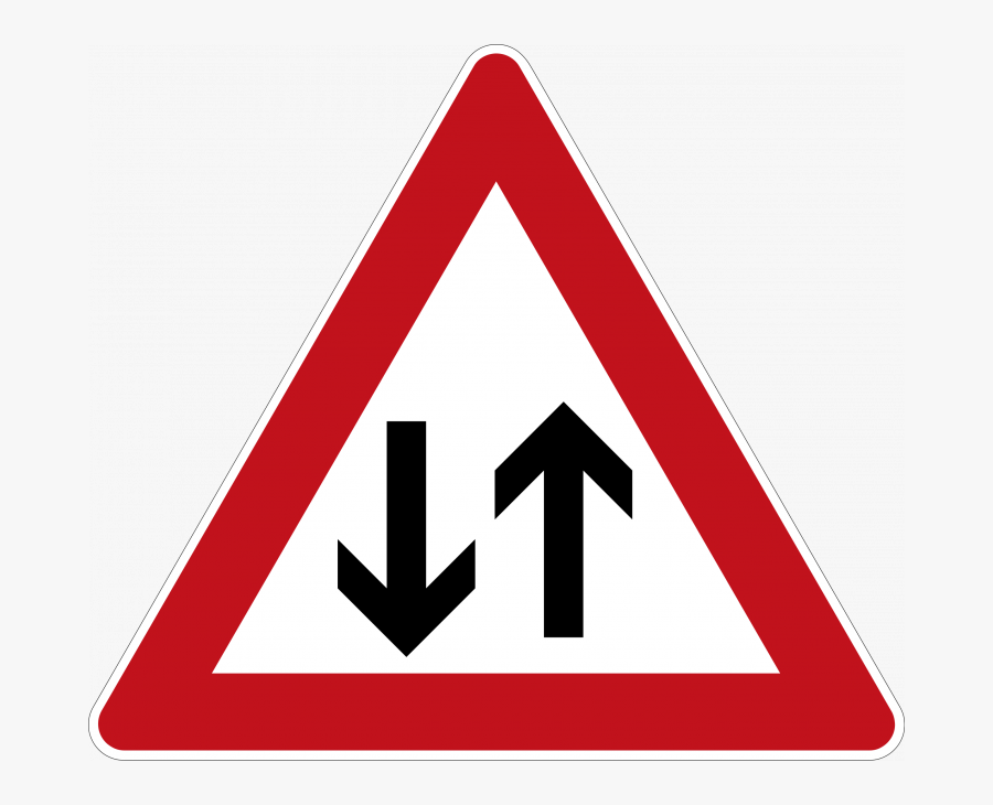 Two Way Traffic Ahead - Cattle Road Sign, Transparent Clipart