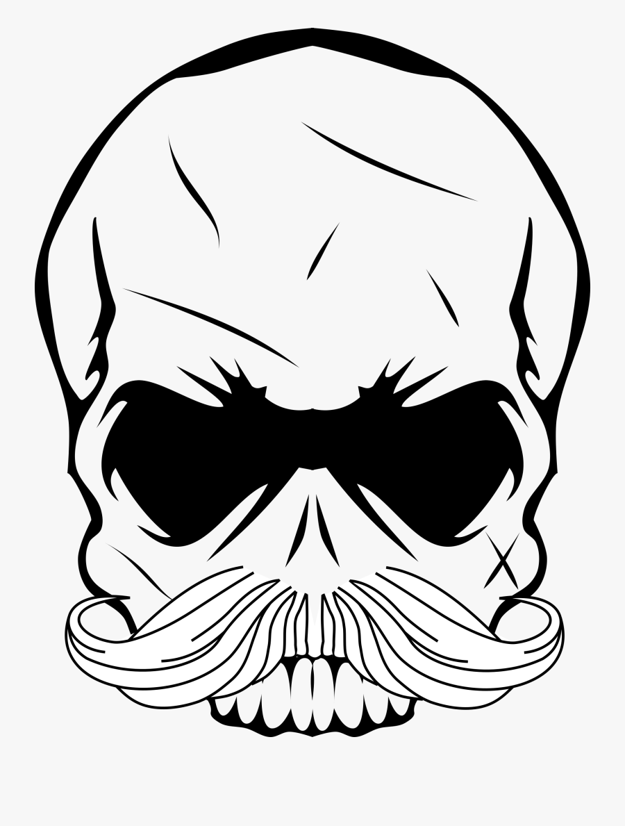 Skull Mustache Clip Arts - Skull With Mustache Png, Transparent Clipart