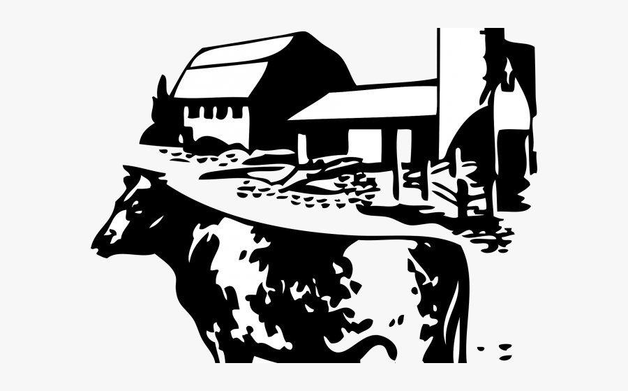 Transparent Barn Clipart Png - Dairy Farm Black And White, Transparent Clipart
