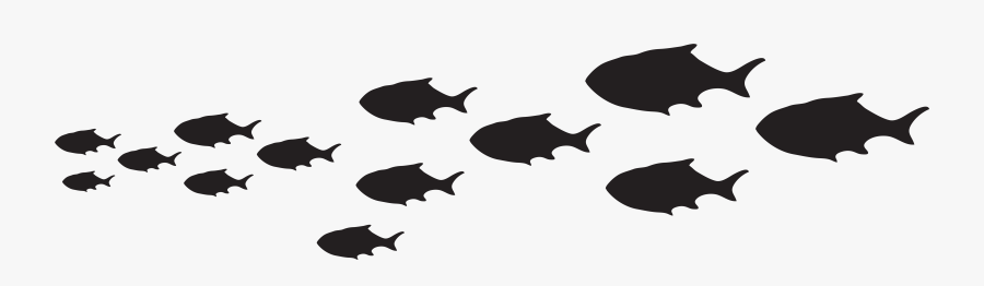 Fish Silhouette Clip Art At Getdrawings - Black And White School Of Fish Clipart, Transparent Clipart