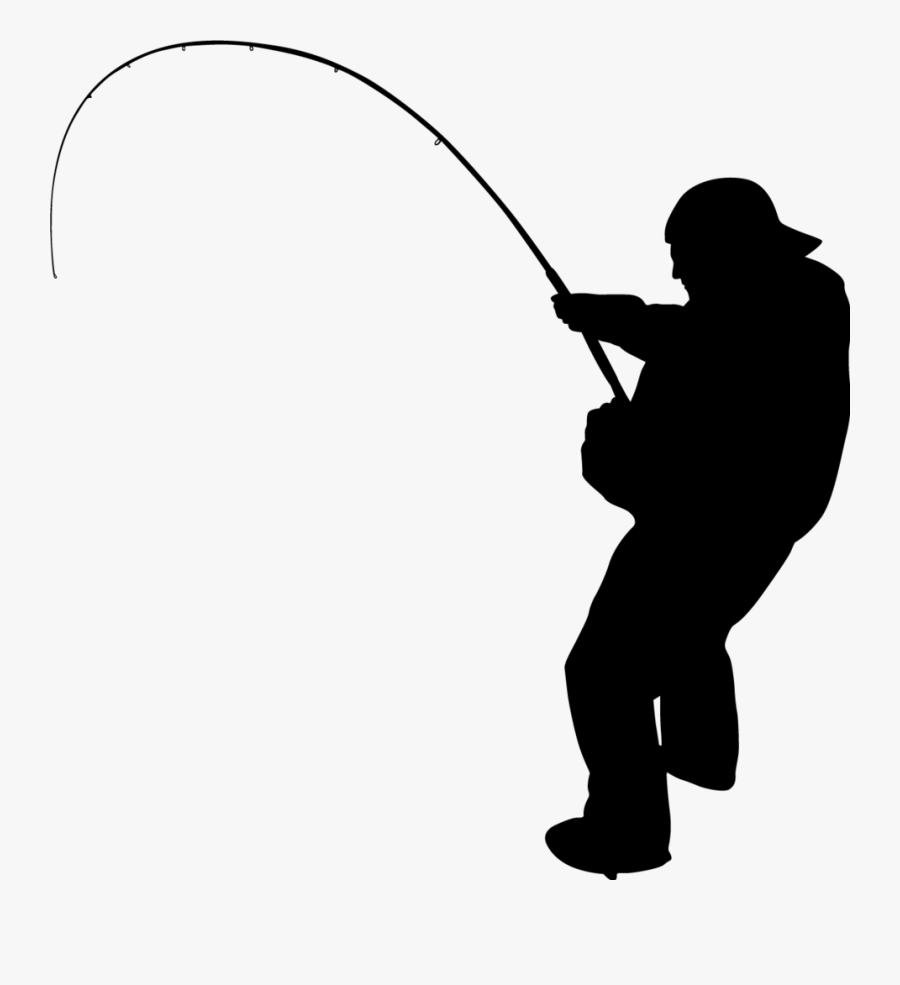 Ice Fish Clipart - Silhouette Fishing Pole Clipart, Transparent Clipart
