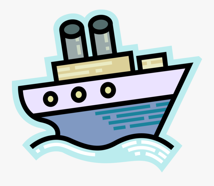 Vector Illustration Of Cruise Ship Or Ocean Liner Passenger - Vector Illustration Image Cruise Ship, Transparent Clipart