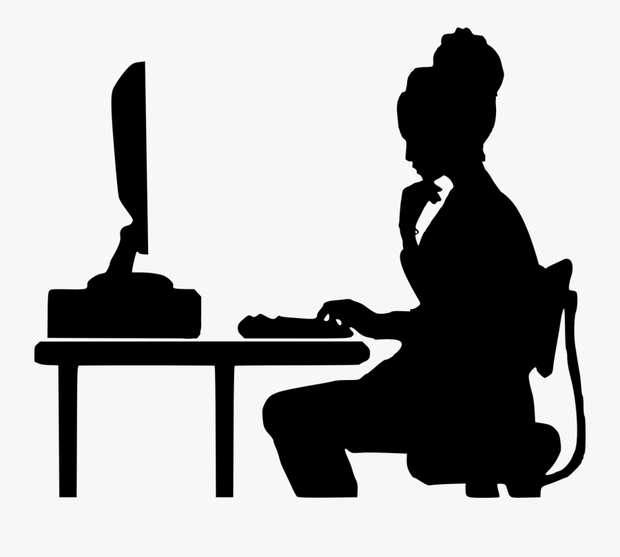 How Online Coding Schools Are Helping To Reimagine - Silhouette Woman At Desk, Transparent Clipart