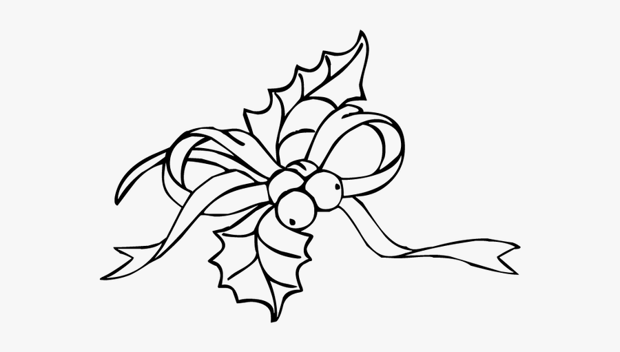Clip Art Christmas Christmaswalls Co - Holly And Ivy Black And White, Transparent Clipart