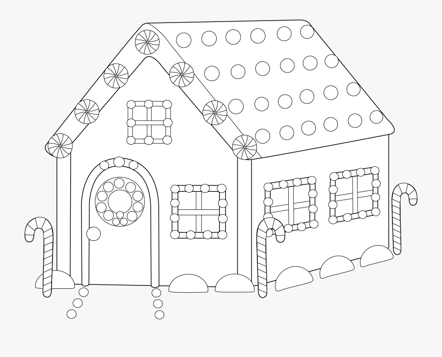 Home Clipart Coloring Sheet - Clip Art Pattern Of Gingerbread House, Transparent Clipart