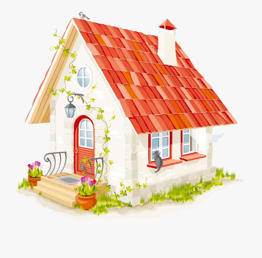 House Clip Art - Little Red Riding Hood Cottage Clipart, Transparent Clipart