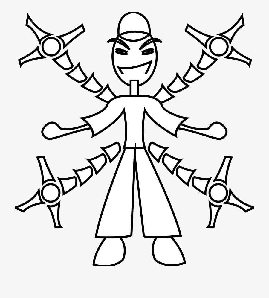 Arm Black And White Clipart - Coloring Pages Robot Arm, Transparent Clipart