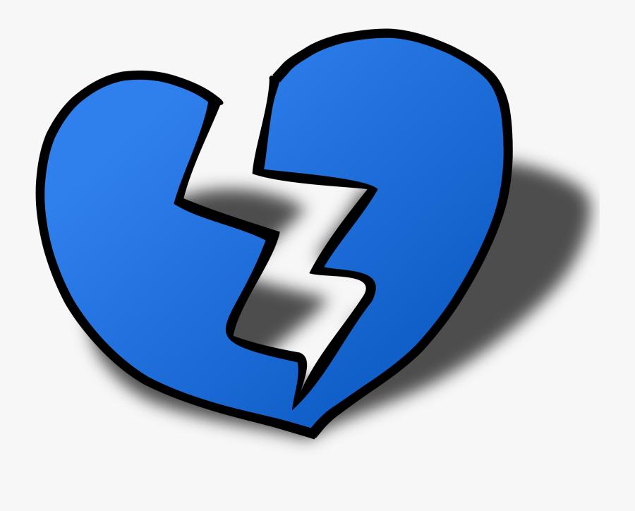 Broken Blue Heart Emoji, Transparent Clipart
