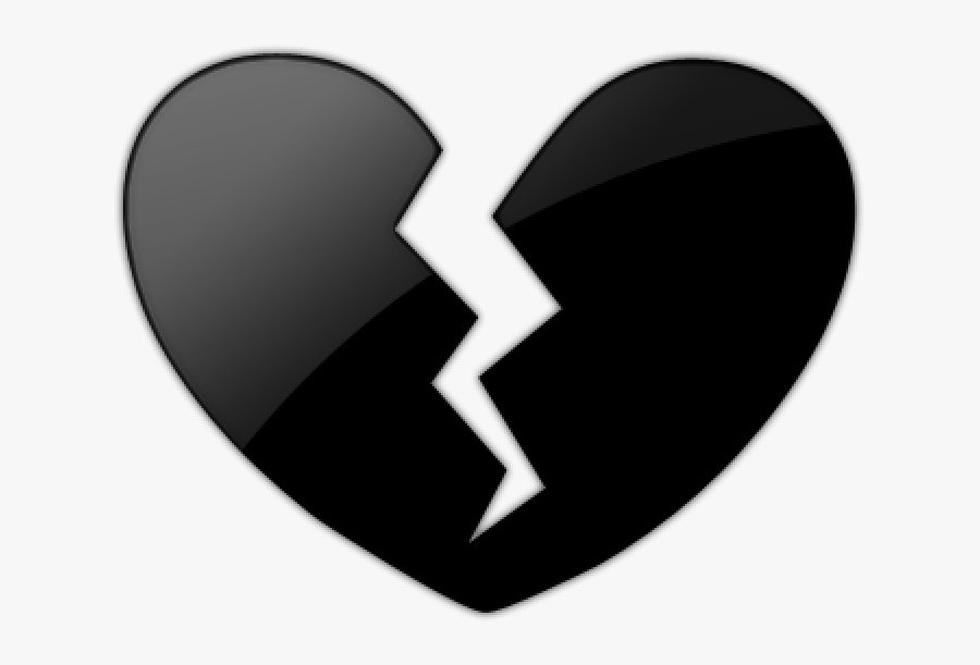 Black Heart Clipart Emoji Black Heart Broken Png Plant - Black Broken Heart Png, Transparent Clipart