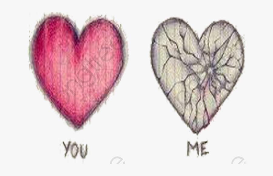 Broken Heart Clipart Bleeding - Draw A Heart You And Me, Transparent Clipart