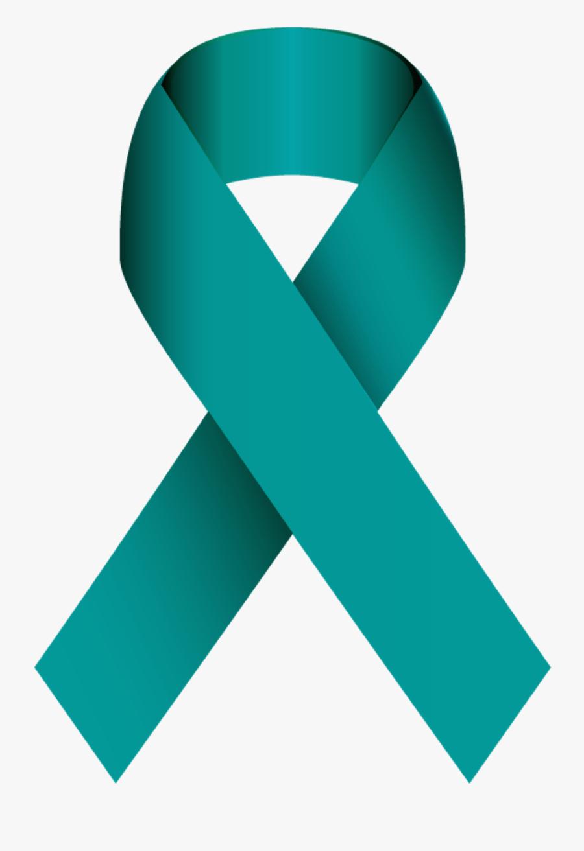 Teal Ribbon Ovarian Cancer Awareness - Sexual Assault Awareness Month Ribbon, Transparent Clipart