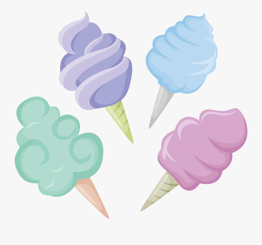 Desserts Clipart Colorful Candy - Algodão Doce Vetor Png, Transparent Clipart