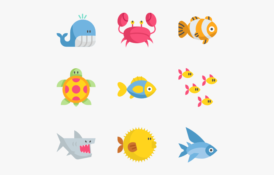 Icons Free Vector - Under The Sea Icons, Transparent Clipart