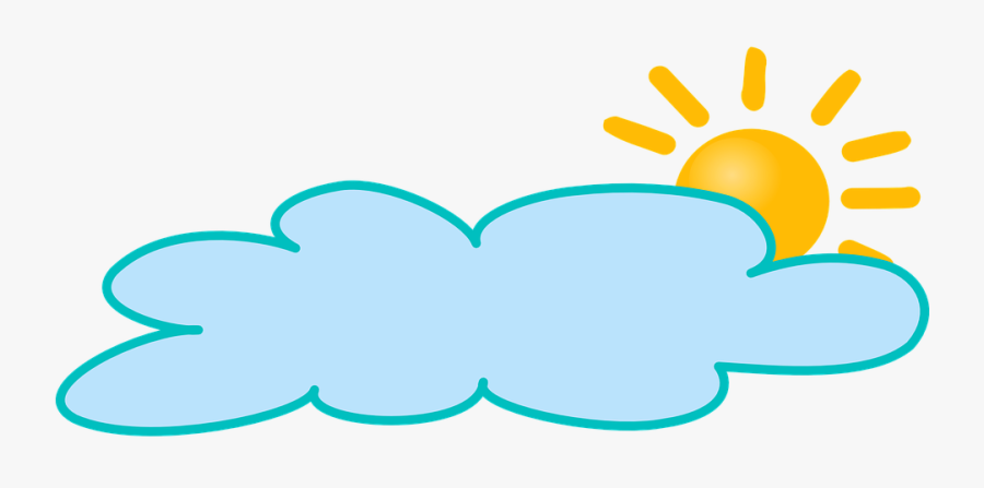 Transparent Sun And Clouds Clipart - Cloudy Weather, Transparent Clipart