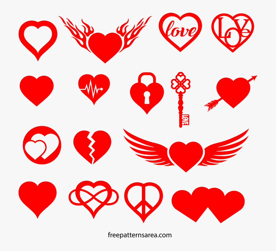The Best Heart-love Symbol Silhouette Vector, Cut Out - Heart Symbols Of Love, Transparent Clipart