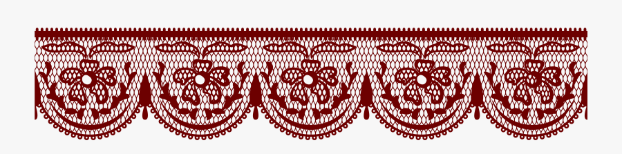 Lace With Flowers Png Clipart Picture - Red Lace Border Transparent, Transparent Clipart