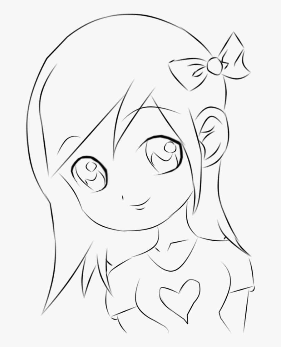 Clip Art Drawings Of Girls Faces - Chibi Anime Drawing Easy, Transparent Clipart