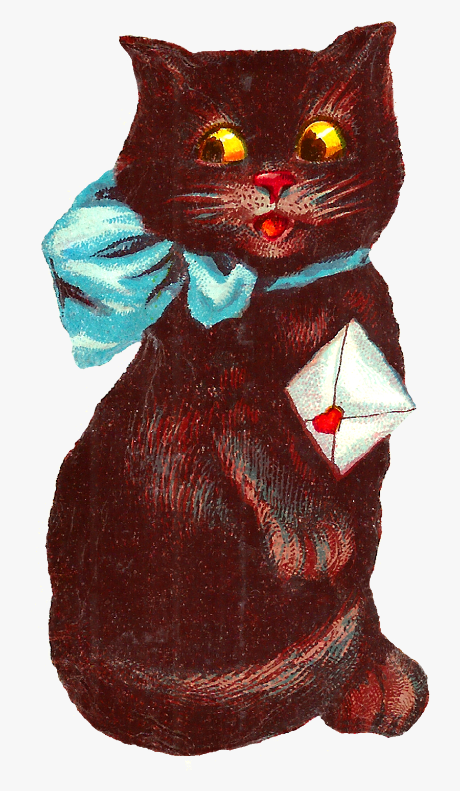 Transparent Valentine Cat Clipart - Vintage Black Cat Valentine, Transparent Clipart