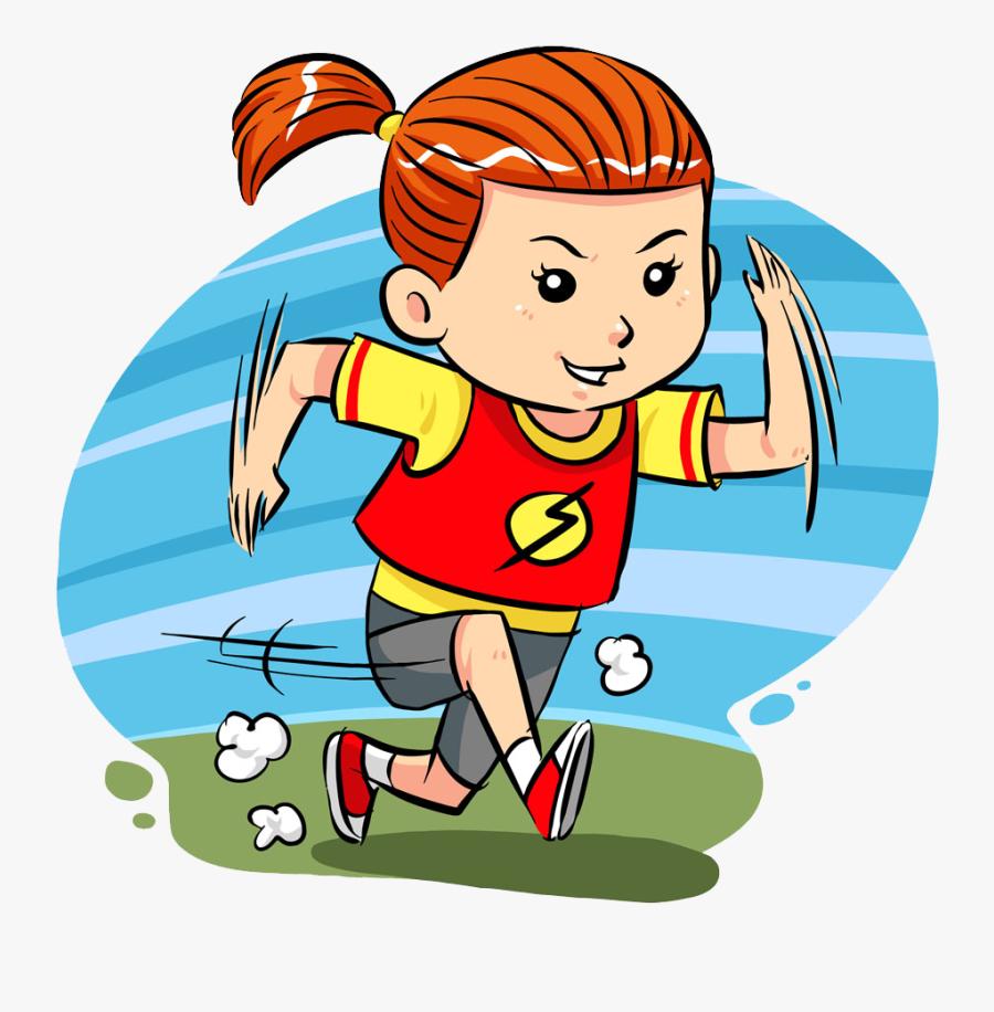 Cartoon Clip Art Girl Transprent Png Free - Cartoon Girl Running Fast, Transparent Clipart