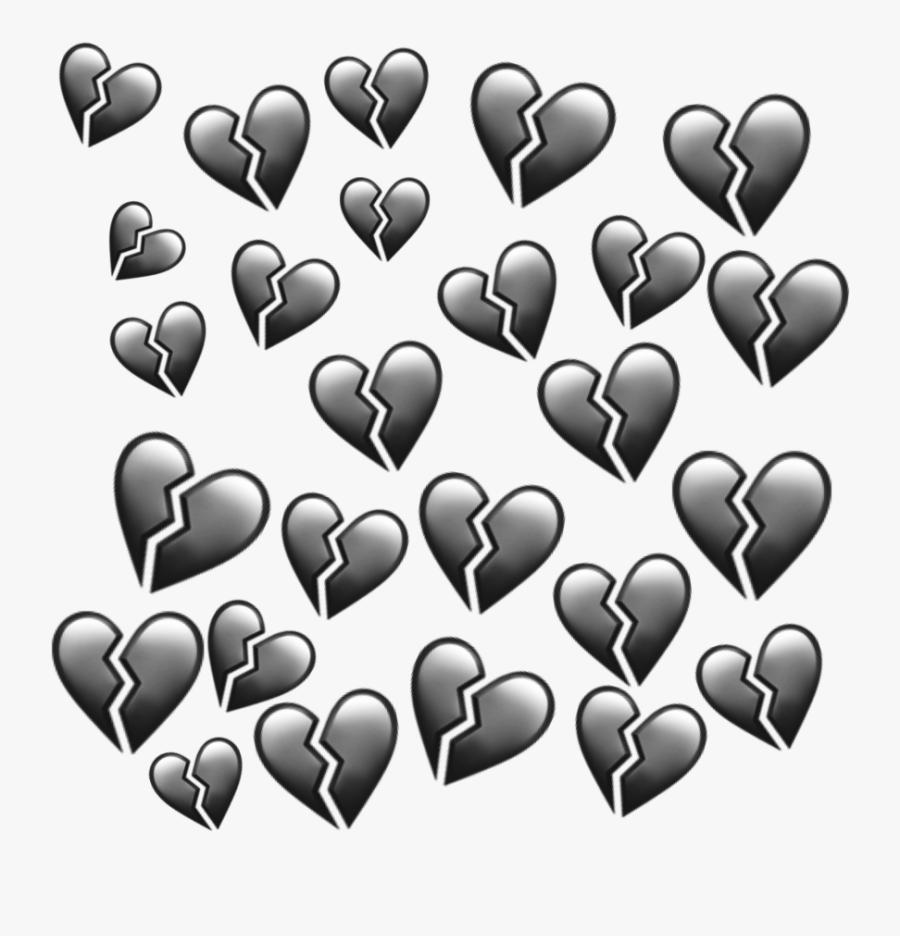 #black #heart #hearts #heartbroken #emoji #emojis #aesthetic - Heart, Transparent Clipart