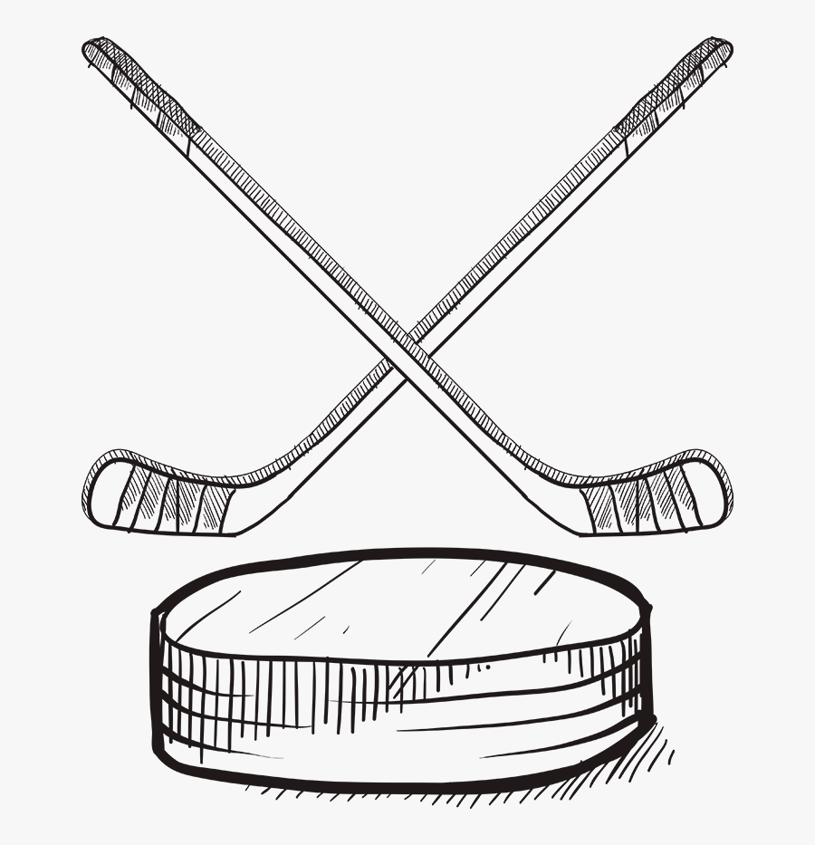 Hockey Sticks And Puck Drawing, Transparent Clipart