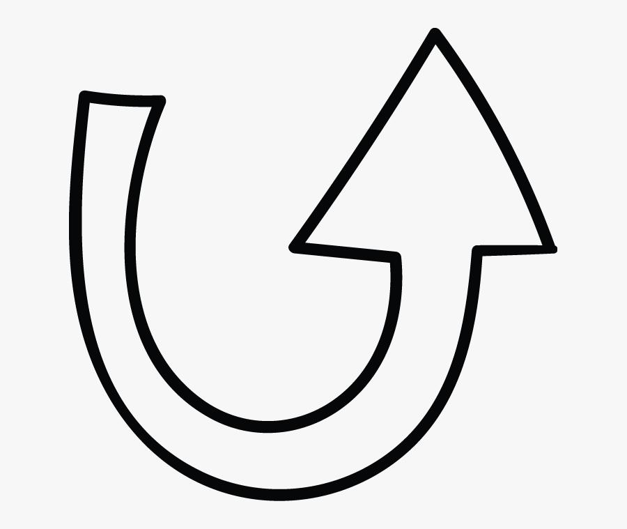 U Shape Arrow Doodle, Transparent Clipart