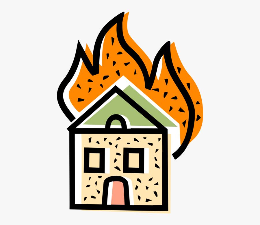 Vector Illustration Of Burning Family Home Residence, Transparent Clipart