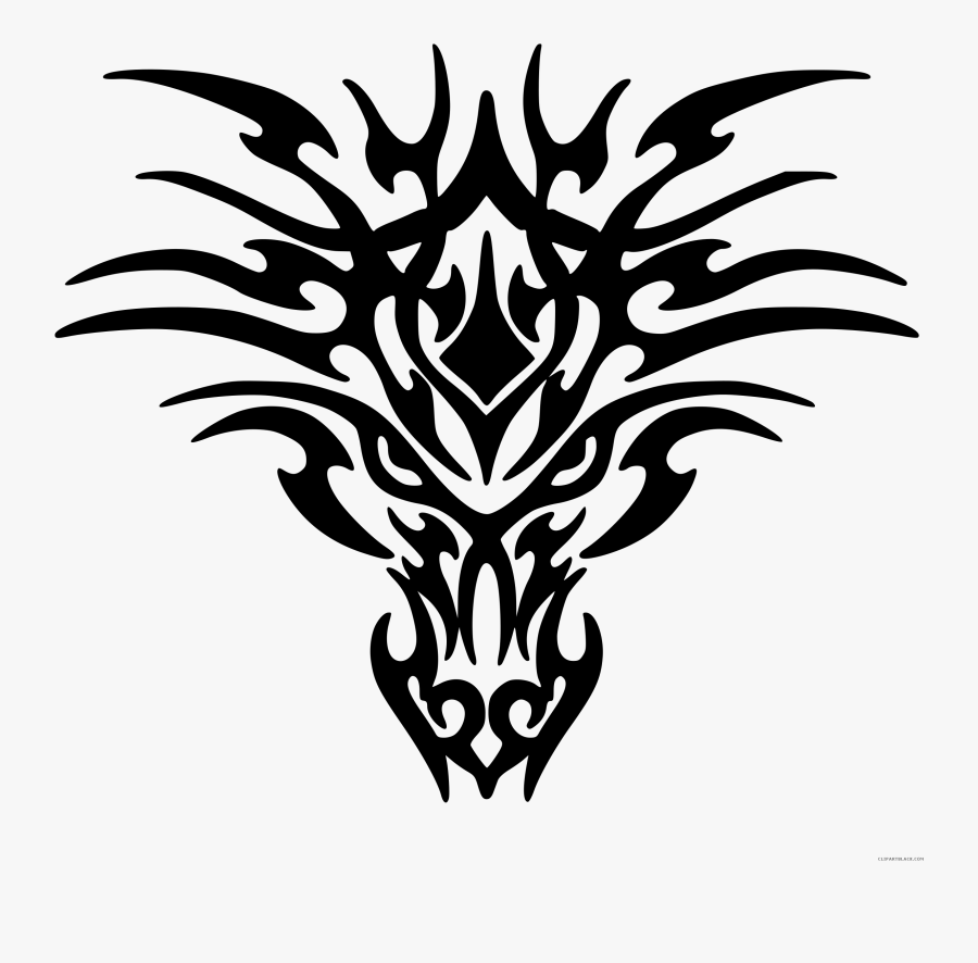 Dragon Tattoo Animal Free Black White Clipart Images - Tribal Dragon Face Tattoo, Transparent Clipart