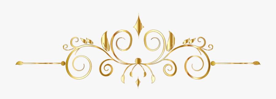 Flourish Divider Ornament Free Picture - Vector Floral Dorado Png, Transparent Clipart
