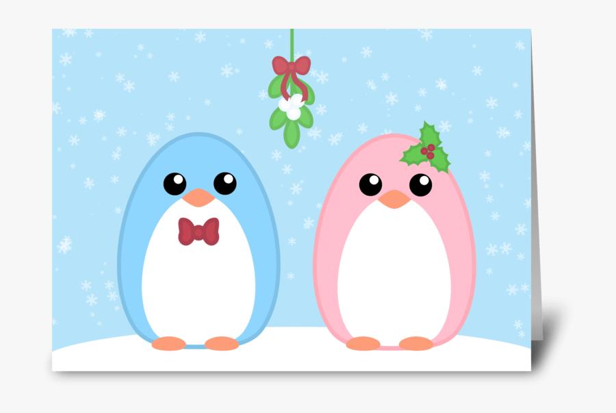 Cute Holiday Penguin Couple Greeting Card - Cartoon, Transparent Clipart
