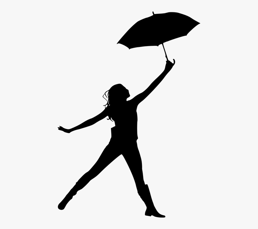 Transparent Silueta De Mujer Png - Silhouettes Of Girl Holding Umbrella, Transparent Clipart