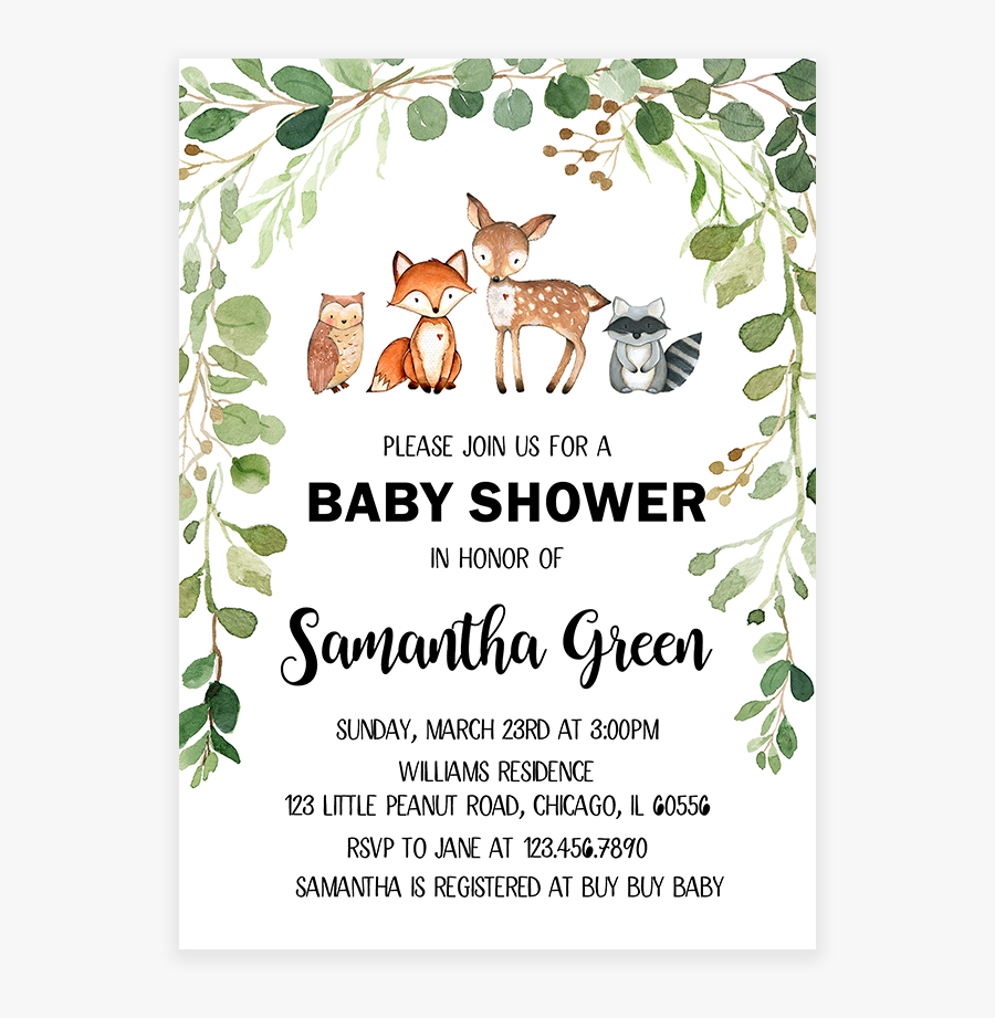 Green Foliage Woodland Baby - Greenery Baby Shower Invitations, Transparent Clipart